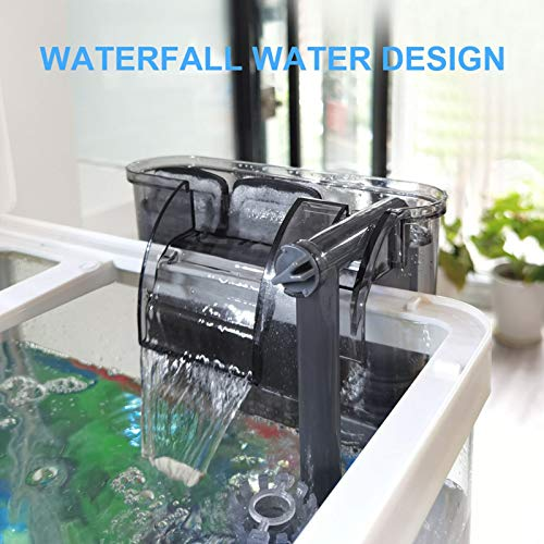 AKKEE Aquarium Filter, Hang On Fish Tank Filter with Surface Skimmer Power Waterfall Suspension Oxygen Pump Filter for Fish Tank Quiet Working(53GPH)