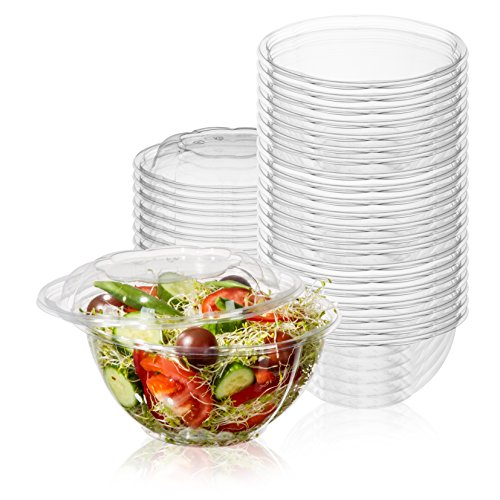 50-Pack 32oz Plastic Disposable Salad Bowls with Lids - Eco-Friendly Clear Food Containers - Extra-Thick Materials - Portable Serving Bowl Set to Pack Lunch - Super Strong Seal To Preserve Freshness ()
