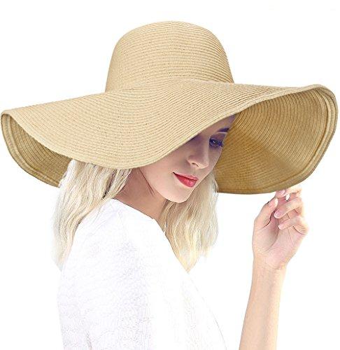 Dafunna Women's Ridge Wide Floppy Brim Sun Hat Beachwear Striped Straw Hat Foldable and Packable