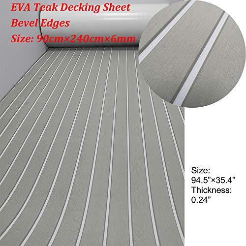 "yuanjiasheng Second Generation Upgrade EVA Faux Teak Decking Sheet For Boat Yacht Non-Slip 94.5""× 35.4"" Bevel Edges (light grey with white lines)"