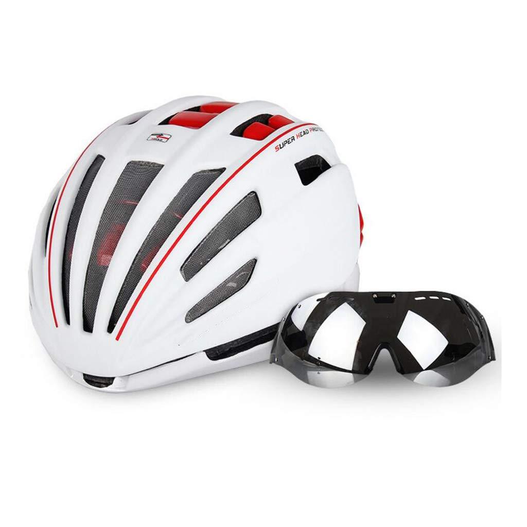 自転車ヘルメット、自転車ヘルメットロードマウンテンバイク安全キャップ調節可能な軽量大人用スポーツヘルメットゴーグル 白 B07QFJTJPM ヘルメット 白 B07QFJTJPM, ヘッジホッグ おとなカワイイ靴店:d1ed7df3 --- awardsame.club