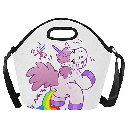 InterestPrint Large Insulated Lunch Tote Bag Funny Cartoon Unicorn Pooping Rainbow Reusable Neoprene Cooler 15.04