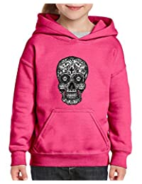 Xekia Sugar Skull Black & White Day of Dead Hoodie For Girls and Boys Youth Kids