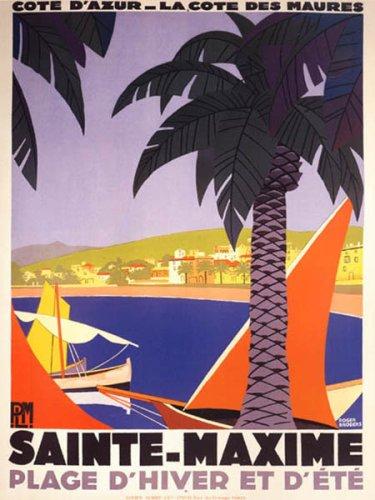 WONDERFULITEMS SAINTE MAXIME COTE D'AZUR SUMMER FRENCH BEACH BOATS TRAVEL FRANCE VINTAGE POSTER REPRO