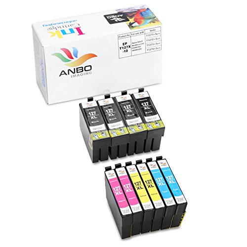 Anbo 10 pack Remanufactured Cartridge for 127 XL Extra High Yield Ink Cartridges Compatible with Workforce 845 545 645 840 630 WF-3540 WF-3520 WF-7510 Stylus NX625 NX530