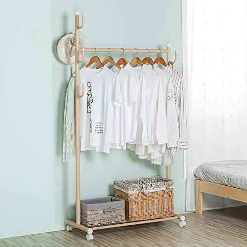 (SINGAYE Clothes Rack 2-in-1 Coat Rack Rolling Garment Rack with Bottom Shelves, 7 Side Hooks, Lockable Wheels,Rolling Closet Organizer (Golden))