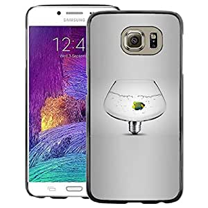 A-type Arte & diseño plástico duro Fundas Cover Cubre Hard Case Cover para Samsung Galaxy S6 (Fish Tank Pet Idea Light Bulb Grey Deep)