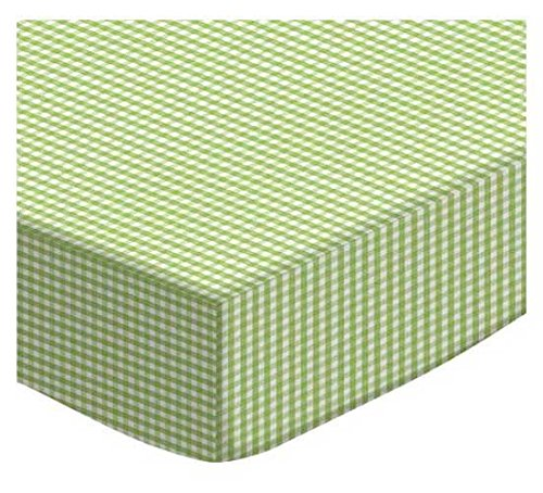 SheetWorld Fitted Square Playard Sheet 37.5 x 37.5 (Fits Joovy) - Sage Gingham Jersey Knit - Made In USA