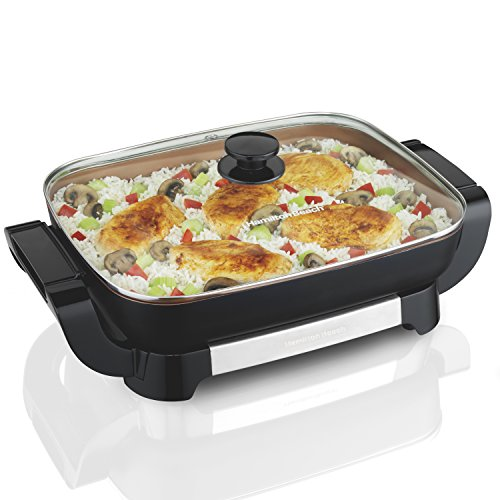 "Hamilton Beach Electric Skillet, Durathon Ceramic, Removable Pan, Tempered Glass Lid (38529), 12"" x 15"