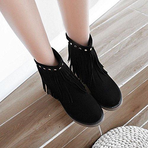Tobillo Alto Botas Mujer 3 Zanpa Casual negro Flecos Xwg81Iq
