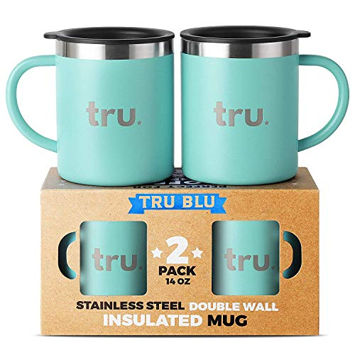 Coffee Mug with Lid (Set of 2) - Stainless Steel Camping Mug with Handle, Double Wall & Insulated Metal Cup - BPA Free, Shatterproof, Dishwasher Safe (14oz)
