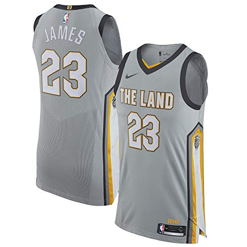 Nike Lebron James Cleveland Cavaliers Authentic City Edition Silver Jersey - Men's Large ()