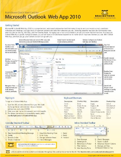 Microsoft Outlook Web App 2010 Quick Start Reference Card, 6-page Tri-fold Tips & Tricks Shortcut Tr by BrainStorm Inc. (2010) Pamphlet