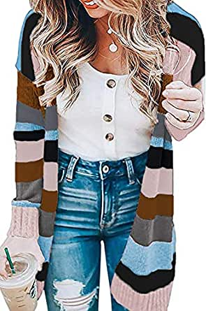Womens Color Block Striped Draped Kimono Cardigan with Pockets Long Sleeve Open Front Casual Knit Sweaters Coat Black