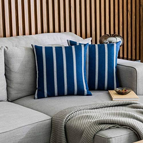 Home Brilliant Spring Decoration Outdoor Stripes Large Accent Pillows Cushion Covers Rustic Euso Sham For Garden Sofa Bed Boy S Room 2 Packs 24 X 24 Inch 60x60cm Navy Blue Home Kitchen Amazon Com