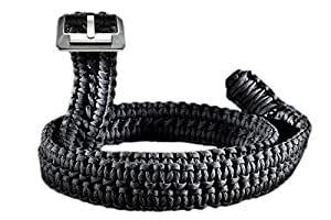 RattlerStrap Paracord Survival Belt (Black, Small (28-34))