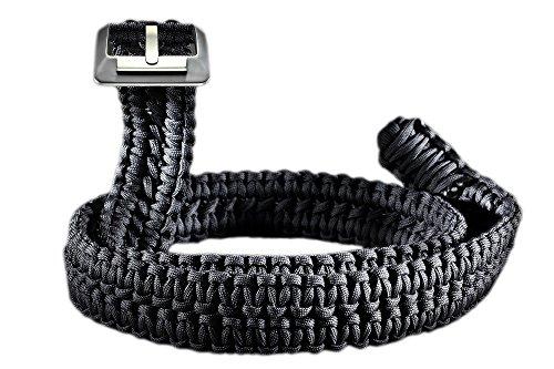 RattlerStrap Preparedness Belt - 550 Paracord Survival Strap - Titanium Buckle - S, M, L, XL, XXL, XXXL - Black, Camo, OD Green (Black, Medium (34-36))