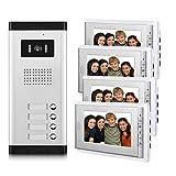 AMOCAM Apartment Video Intercom System, Wired 7 Inches Monitor Video Door Phone Kit, 4 Household Apartment Video Doorbell, Support Monitoring, Unlock, Dual Way Door Intercom, 1 PCS Camera 4 PCS Screen