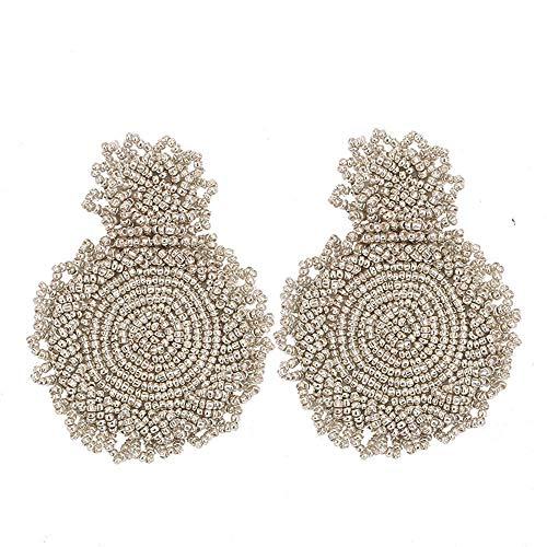 (OXYTRA Beaded Statement Earrings - Drop Dangle Earrings Boho Statement Round Earrings for Women & Girls (Silver))
