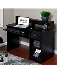 OneSpace 50-LD0105 Essential Computer Desk, Hutch with Pull-O...