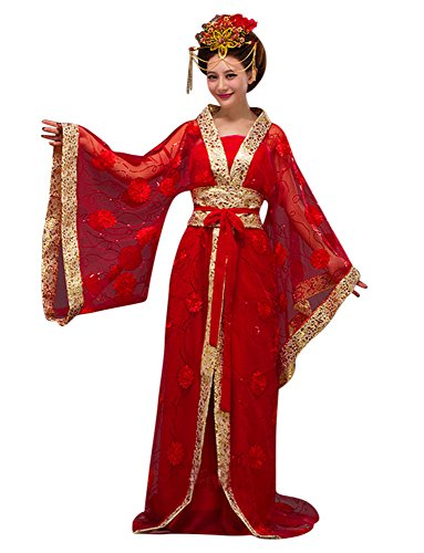Geisha Gown Red Costumes - CRB Fashion Womens Ladies Stunning Asian