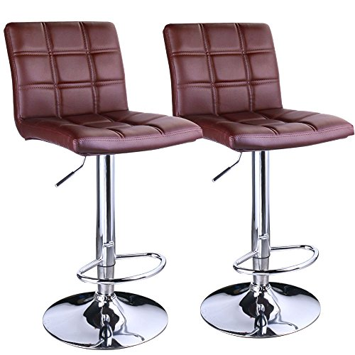 Leopard Square Back Adjustable Bar Stools, PU Leather Padded with Back,Set of 2,Brown ()