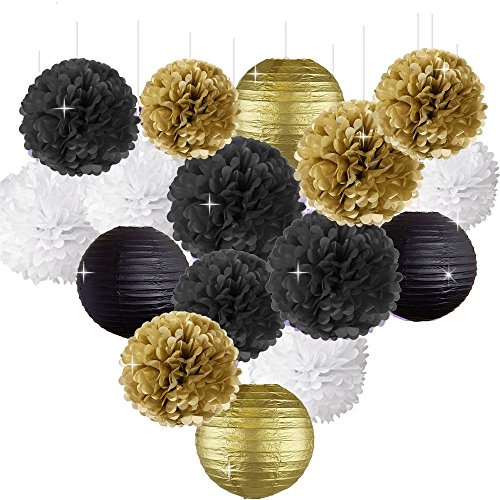 Happy New Year Party Decorations Black White Gold Tissue Paper Pom Pom Paper Lanterns for Great Gatsby Decorations/ New Years Eve Party /Birthday Decorations/Bridal Shower Decorations