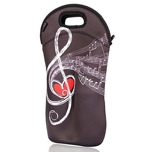 Pack Beverage Tote (iColor insulated Wine bag tote Holder Covers for Champagne,Beer Bottles,Beverages,Containers,Sodas,Sports Water Bottles,Baby Bottles,Make of thick Neoprene,Zipper Closure,Machine-Washable Wine)