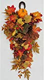 26 Inch Fall Harvest Teardrop Swag with Pumpkins, Acorns and Berries