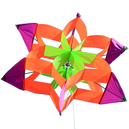 Besra 42inch Huge Lotus Flower Kite Colorful Signle Line Nylon 3D Box Kite with Flying Tools (42inch Hexagon Color Random) (Nylon Box)