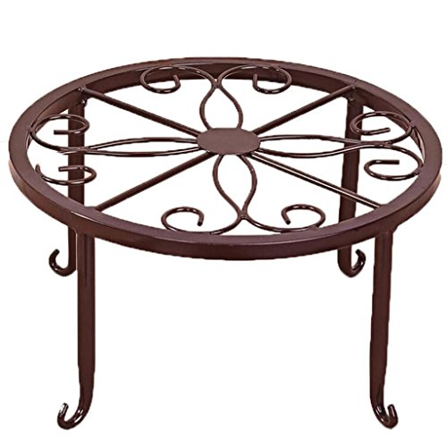 Braceus Plant Stand Floor Flower Pot Rack Round Iron Home Garden Indoor Balcony Decor (Red Bronze)
