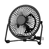 Usb Mini Desktop Fan - Table Small Fan Portable Adjustable Compatible With Computer,Laptops Power banks Fans Quiet Cooling For Office And Home 4 Inch Black
