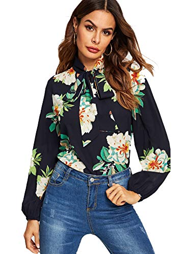 (Floerns Women's Bow Tied Neck Lantern Long Sleeve Floral Print Blouse Navy-1 S)