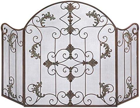 LJFPB 暖炉スクリーン 2つのヒンジパネル付き 折り畳み可能 鉄 ベビーセーフ スパークガードフェンスメッシュ 装飾スクロールデザイン、 背の高い80cm(31.5インチ) (Color : Bronze)