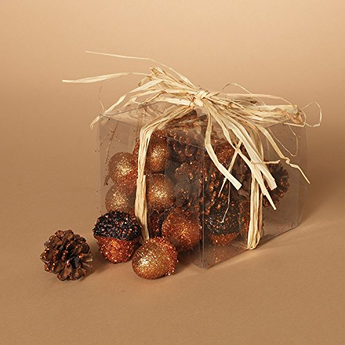 Acorn Vase - Holiday Essentials Glittery Pinecones and Acorns - Great for Vase Fillers & Holiday Decorations - Set of 24