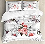 Gothic Decor Queen Size Duvet Cover Set by Ambesonne, Roses and Skull Feast of All Saints Catholic Tradition Illustration Art Print, Decorative 3 Piece Bedding Set with 2 Pillow Shams