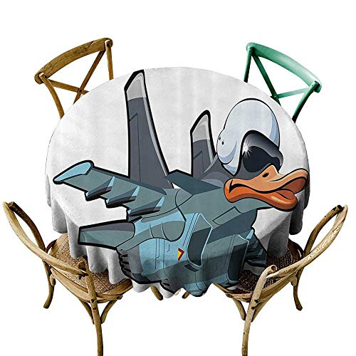 Jbgzzm Polyester Tablecloth Airplane Decor Collection Jet Bird Angry Comic Aircraft Army German Pilot Helmet Duckling Funny Character Image Party D43 Grey White