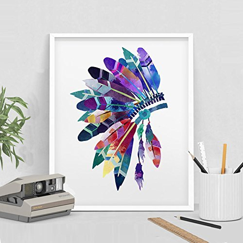 Feather Headdress Wall Art, Headdress Painting , Feathers Print, Watercolor Headdress Art Print, Headdress Poster ,Feathers Poster(167) from ArtFravu