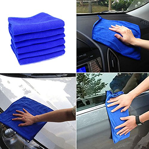 [6PCS Multifunctional Blue Absorbent Wash Cloth Car Household Sofa Auto Care Microfiber Cleaning Towels 30*70CM] (Heinz Dog Costume)