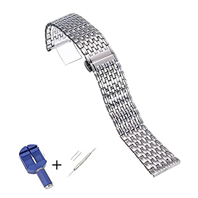 ViuiDueTure 18mm High-End 316L Stainless Steel Straight End Link Bracelet Watch Band Replacement Strap