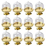 BESTONZON 12pcs Mini Cake Stand Chocolate Cupcake Candy Display Plate Lid Birthday Wedding Halloween Christmas Party Supplies (Golden Base)