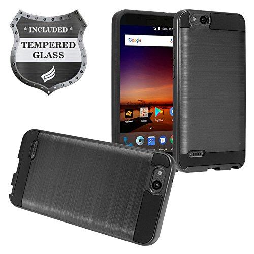 Z-GEN - Compatible with ZTE Tempo X, Tempo Go N9137, Blade Vantage, Fanfare 3, Avid 4, Avid 557, ZFive G Z557BL, ZFive C - Brushed Style Hybrid Case + Tempered Glass - Black
