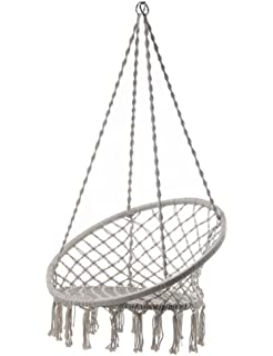 Outdoor Cotton Rope Patio Garden Hammock Chair Swing Max Weight: 260 Pounds  Good For Lounging