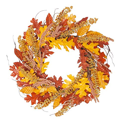 VGIA 18Inch Fall Wreath  Front Door Decor Wreath  Fall Decorations for Home  Autumn  Leaves Wreath