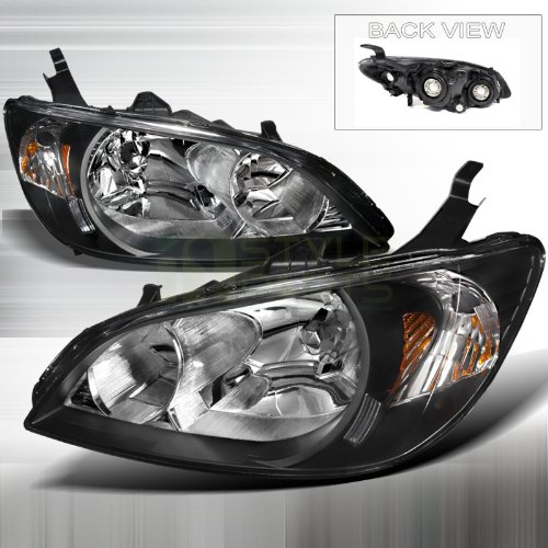 Jdm Crystal Black - 2004-2005 Honda Civic 2Dr/4Dr Crystal Headlights Jdm Black 04 05