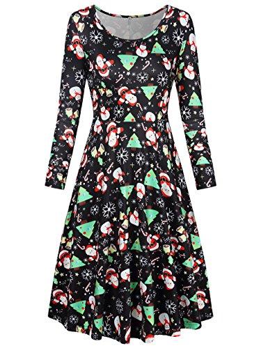 SUNGLORY Womens Christmas Dress Santa Claus Print A-line Party Dress