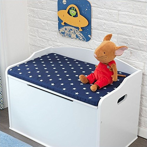 Rosebery Kids Toy Box Cushion in White and Navy