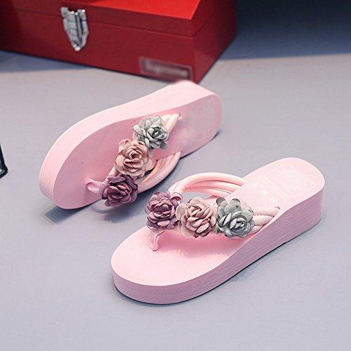 Faites à Glissière à DIDIDD Sandales Pour L'Été Sandales Pantoufles Femmes Rose Pour à Pour 36 Glissantes Sandales Main la Fleurs Femmes rEnqqIxa