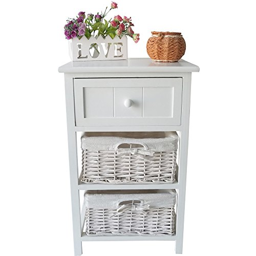 Leadzm Country Style There-tier Bedside End Night Tables with Drawer Cabinet and Basket for Bedroom Decoration (White,There-tier) (Side Table With Baskets)