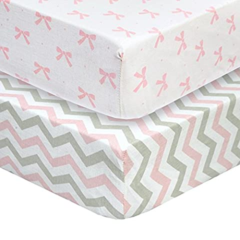 Cuddly Cubs Premium Jersey Crib Sheets, Gentle on Baby Skin and Extra Soft for a Sound Sleep! Fitted and Stretchy, NO Struggle to Get on the Mattress. Cute Chevron and Bow Pattern in Pink and - Magenta Twin Pack